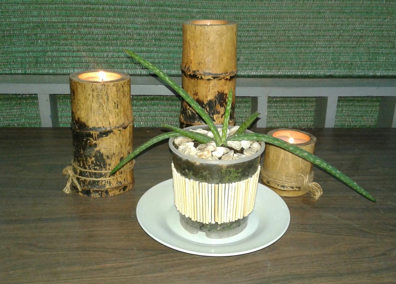 Idea creativa con pinchos de bamb en la decoraci n de - Macetas con bambu decoracion ...
